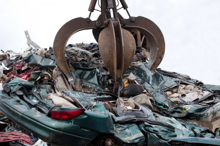 crushing recycled cars
